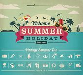 picture of holiday symbols  - Vintage items set of summer holiday - JPG