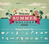 stock photo of holiday symbols  - Vintage items set of summer holiday - JPG