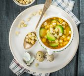 picture of brussels sprouts  - Homemade vegetable soup with brussels sprouts and croutons - JPG