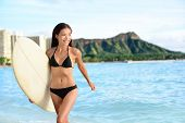 pic of hawaiian girl  - Portrait of surfer woman on Waikiki Beach - JPG