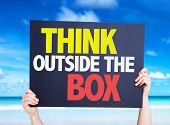 stock photo of thinking outside box  - Think Outside the Box card with beach background - JPG