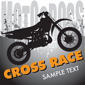 picture of motocross  - Motocross background with motorbike silhouette - JPG