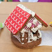 pic of gingerbread house  - Beautiful gingerbread house on background - JPG