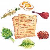 stock photo of passover  - Happy Jewish Passover greeting card - JPG