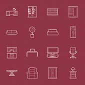 stock photo of settee  - Furniture thin lines icon set vector graphic illustration - JPG