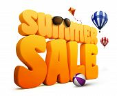 image of balls  - 3D Dimensional Summer Sale Title Words in White Background with balloons and Kite Flying - JPG