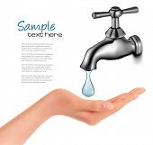 picture of tapping  - Water tap with drop and hand - JPG