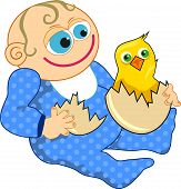 image of baby chick  - Cartoon illustration of a baby boy holding and egg with an hatching chick - JPG
