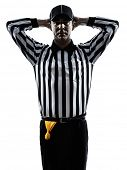 stock photo of referee  - american football referee gestures in silhouette on white background - JPG