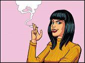 stock photo of smoking woman  - Smoking Woman in retro pop art style - JPG