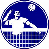 foto of spike  - Icon illustration of a volleyball player spiker spiking hitting ball set inside circle on isolated background done in retro style - JPG