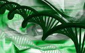 image of dna  - Digital illustration DNA structure in colour background - JPG