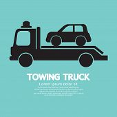 image of tow-truck  - Car Towing Truck Black Symbol Vector Illustration - JPG