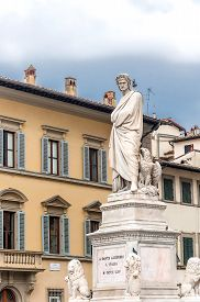 foto of alighieri  - Statue of Dante Alighieri located in Santa Croce square in Florence Italy - JPG