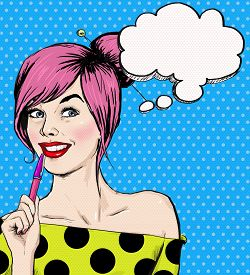 foto of  art  - Fashion pop art illustration girl with pen in the hand with speech bubble - JPG