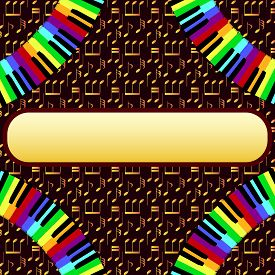 picture of rainbow piano  - piano frame with corners on golden background - JPG