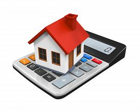 foto of calculator  - Calculator and House Icon isolated on white background - JPG
