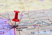 picture of usa map  - Photo of pinned Kansas City on a map of USA - JPG