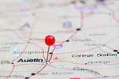 picture of usa map  - Photo of pinned Austin on a map of USA - JPG