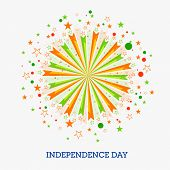 stock photo of indian independence day  - Beautiful greeting card design decorated with national tricolor firecracker for Indian Independence Day celebration - JPG