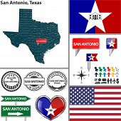 stock photo of texans  - Vector set of San AntonioTexas in USA with flag and icons on white background - JPG