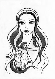 image of sagittarius  - Graphic zodiac sign illustration Sagittarius pencil and ink pen - JPG
