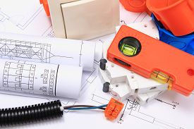 pic of electrical engineering  - Components for use in electrical installations and electrical diagrams accessories for engineering work energy concept - JPG