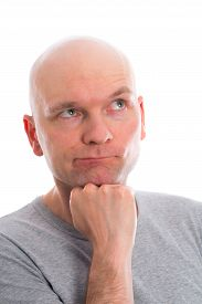 image of bald headed  - funny young man with bald head is refecting - JPG