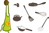 stock photo of kitchen utensils  - illustration of utensils on white - JPG