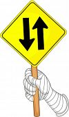 Illustration of a hand showing two way traffic board on white background