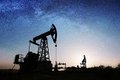 Oil Pump On The Oil Field In The Night poster