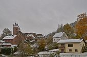Autumn Snowstorm On October 30 In Germany, Bertradaburg In Muerlenbach, Eifel. poster