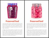 Preserved Food Poster Canned Plums And Sweet Berries In Glass Jar With Lid Decorated By Label. Home  poster