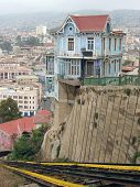 Hillside house at funicular line. Valparaiso, Chile