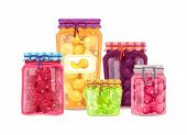 Peach And Raspberry Lime And Plum Jam Preserved In Closed Glass Jars With Sticker. Set Of Homemade C poster