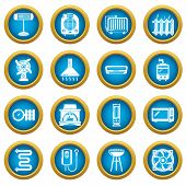 Heat Cool Air Flow Tools Icons Set. Simple Illustration Of 16 Heat Cool Air Flow Tools Icons For Web poster