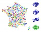 Welcome Combination Of Mosaic Map Of France And Scratched Seals. Vector Greeting Seals With Scratche poster