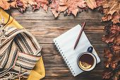 Autumn Fashion Seasonal Concept Yellow Warm Soft Sweater Scandinavian Knitted Scarf Cup Hot Black Te poster