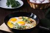 Keto Diet Concept, Low Carb Food, Eggs With Bacon And Arugula, Nourishing Meals Rich With Proteins poster