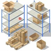 3d Isometric Storage Of Post Service. Set Of Cardboard Packaging, Mail With Adhesive Tapes For Deliv poster