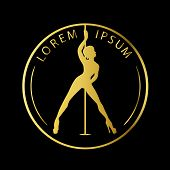 Gold Logo For Dance Studio, Pole Dance, Stripper Club. Silhouette Pole Dance On A Black Background.  poster