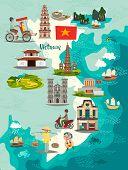 Vietnam Map Vector. Illustrated Map Of Vietnam For Children/kid. Cartoon Abstract Atlas Of Vietnam W poster