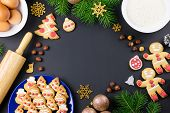 Tasty Christmas Cookies, Christmas Tree, Decorations On Black Background. Christmas Cooking Concept poster