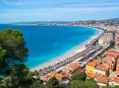 View Of Nice With Colorful Historical Houses In Old City And Sea. Nice, Cote Dazur, France. poster