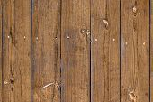 The Surface Of The Old Fence With Vertical Boards, Light-brown Faded Color, Knots On The Pine Boards poster