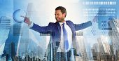Touch Digital Surface. Businessman Financial Manager Interact Digital Surface. Businessman With Brie poster