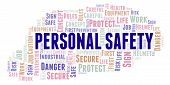 Personal Safety Word Cloud. Word Cloud Made With Text Only. poster