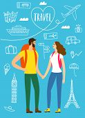 A Pair Of Travelers With A Backpacks. Romantic Backpacker Illustration With Doodle Drawings For Your poster