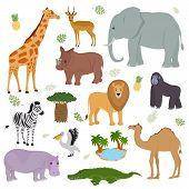 African Animal Vector Wild Animalistic Character Elephant Giraffe Gorilla Mammal In Wildlife Africa  poster