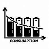 Energy Battery Consumption Icon. Simple Illustration Of Energy Battery Consumption Vector Icon For W poster